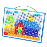 Aland 296Pcs DIY Mosaic Picture Puzzle Pegboard Mushroom Nails Educational Kids Toy Mushroom Nail Hand-Stitched Puzzles Large Boxed 296 Tablets DIY Educational Toys
