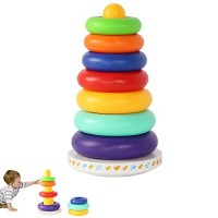 Flykee Children Toy Stack Up Rainbow Tower Rings Music Tumbler Baby Kids Stacking Intelligent Development Educational Toys