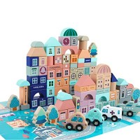 GEMEM Wooden Blocks-133 Pc for Kids Preschool Ages-Classic Shapes Colorful Wood Block Set Colored Castle Building Kit Toy Boys & Girls with 48 Pcs Cardboard Playset