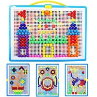 676 PCS Mosaic Pegboard Hanhan Educational Mushroom Nails Jigsaw DIY 3D Puzzle Toy Building Block Brick Toy Button Art Game for Toddlers Kids Boys Girls