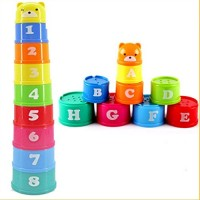 Andosange Non-Toxic Stack Up Cups Baby Early Educational Toys Toddler Child Measure Up Stacking Cups