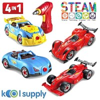 4 in 1 Assembly Racing Car w Power Drill & Screw DIY Take Apart Model Vehicle Sounds Lights Build your own Construction Engineering STEM Educational Learning Toy for age 3 5 6 7 8 9 boy girl