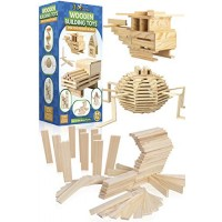 3 Bees & Me Wooden Building Toys - STEM for Boys and Girls 100 Wood Plank Pieces
