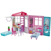 Barbie Dollhouse Portable 1-Story Playset with Pool and Accessories for 3 to 7 Year