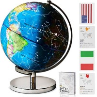Children Illuminated Spinning World Globe with Stand Plus a Bonus Card Game 3 in 1 Interactive Educational Desktop Earth for Kids LED Night Light Lamp Political Map and Constellation View