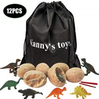 12 Dino Toys Eggs Dig Kit--Best Dinosaur Fossil Excavation Kit with Cute Figures Up Great Easter Toy Best Science STEM Gift and Party Favors for Kids