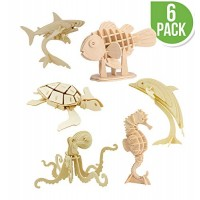 Hands Craft DIY 3D Wooden Puzzle Bundle Set Pack of 6 Sea Animals Brain Teaser Puzzles Educational STEM Toy for Kids and Adults Safe Non-Toxic Easy Punch Out Premium Wood JP2B5