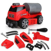 BeebeeRun 6-in-1 DIY Take Apart Fire Rescue Vehicles Models Car Toys Engine STEM Learning Building Play Set for 3 4 5 6 7 8 Year Old Kids Boys and Girls