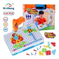 144 Pieces Creative Mosaic Puzzle Toy With Electric Drill Screw Tool Set DIY Construction Engineering Building Blocks STEM Learning Games Activity Center for Boys & Girls Ages 3-10 Years Old