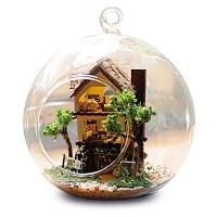 Yosooo Mini Glass DIY Wooden Dollhouse Kit Assembling Model Home Decor Display Creative Handcraft