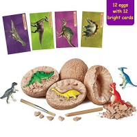 Onnetila Dinosaur Toys 12 Dino Eggs Dig Kit - Break Open Unique and Discover Cute Dinosaurs Easter Archaeology Science STEM Kids Gifts for Boys Girls 3 4 5 6 Years Old