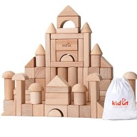 KAJA Classic Wooden Building Blocks Sets 80 Pcs Natural for Toddlers Educational Preschool Learning Toys with Carrying Bag