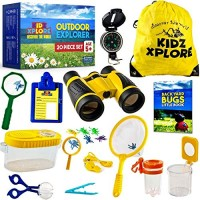 Kidz xplore Outdoor Explorer Set 20 pc - Nature Exploration Kit Children Games Mini Binoculars Kids Compass Whistle Magnifying Glass Bug Catcher Adventure Hunting Hiking Educational Toy