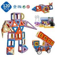 Magnetic Toys - Blocks for Kids Boys and Girls Preschool Magnet Building Sets Buliding Stem 120 Pcs