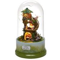 Yosooo DIY Dollhouse Cute DIY Forest Dollhouse Miniature with Rotate Music Box Dust Cover