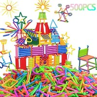 Anda 500 Pcs Building Toy Blocks Bars Toys Creative and Educational 3D Puzzle Games Interlocking Connecting Kit Great STEM for Boys Girls