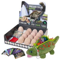 PB & Jane Dinosaur Egg Dig Bonus Kit- Complete with 13 Eggs Stuffed Dino Toy Carrier and 12 Trading Cards Archaeology Science STEM Gift