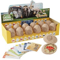 Dig a Dozen Safari Animals Kit - Break Open 12 Unique Wild Animal Eggs and Discover Cute with Learning Cards Easter Archaeology Science STEM Gift