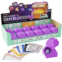 Dig a Dozen Gem Blocks - Break Open 12 Unique Gemstone Blocks and Discover 12 Real Precious Stones - Archaeology Geology Science Gift - Mineral & Rock Collection