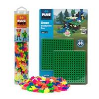 PLUS - Baseplate Duo & 240 Piece Neon Tube Set Construction Building STEM STEAM Toy Interlocking Mini Puzzle Blocks for Kids