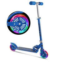 WeSkate Scooter for Kids with LED Light Up Wheels Adjustable Height Kick Scooters for