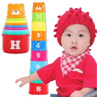 SUNMART USA Baby Toys Funny Stacking Mini Stack Cup Educational Figures Folding Tower Piles Letter for Children Random Color