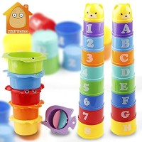 SUNMART USA Stack Cup Educational Baby Toys Rainbow Color Figures Folding Tower Funny Puzzle Piles Stacking Letter Toy Kids Water