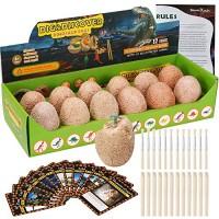 Dino Egg Dig Kit-12 Dinosaur Eggs Excavation Kit for Birthday Theme Party Science STEM Toys Easter Paleontologist Gift Preschool Educational Boys Girls Kids