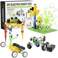 2Pepers Electric Motor Robotic Science Kits for Kids 4-in-1 DIY STEM Toys Experiment Building Educational Robotics Kit Boys and GirlsCircuit Engineering Project