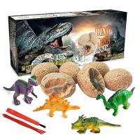 Dinosaur Toys Dino Egg Dig Kit Kids Gifts - Break Open 12 Unique Eggs and Discover Cute Dinosaurs Easter Archaeology Science STEM Technology for Boys Girls