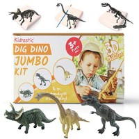 Kidtastic Dig Dinosaur Excavation Kit Large 6 Figures and Model Skeletons 11 PCS T-Rex Triceratops & Brachiosaurus STEM Set Archaeology Toy for Kids Ages 3 Up