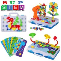 224 Pieces STEM Learning Toys Electric DIY Drill Educational Mushroom Pegboard Mosaic Puzzle Construction Engineering Building Blocks Screw driver ToolBest Early for 3 4 5 6 7 8 9 Year Old