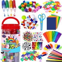 FunzBo Arts and Crafts Supplies for Kids - Craft Art Supply Kit Toddlers Age 4 5 6 7 8 9 All in One DIY Crafting Collage Set