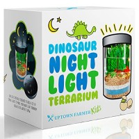 Light-up Terrarium Kit for Kids - Dinosaur Toys Girls or Boys Mini Garden that Glows Great 5 year old Boy Gifts Stem Educational Kid Science Kits Experiment w Gardening Crafts Children