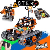 3-in-1 STEM Remote Control Building Kits-Tracked Car Robot Tank 24Ghz Rechargeable RC Racer Toy Set Gift for 8-1214 Year Old Boys and Girls Best Engineering Science Learning Kit Kids 392pcs