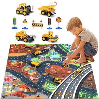 Construction Vehicles Truck Toys Set with Play Mat Mini Engineering Diecast Trucks Pull Back