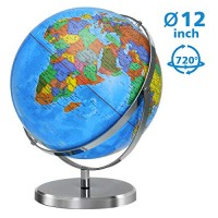 World Globe 12 Inch Diameter for Kids 720 Degree Rotation with Steel Stand Over 4000 Locations KingSo Adult Desktop Geographic Globes Educational Gift Toys Perfect Decoration Home Office