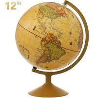 World Globe KingSo Antique for Kids 12 Inch Bronze Desktop with Steel Stand Over 4000 Locations Earth Educational Gift Toys Perfect Decoration Office and Study