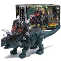 GERUI Walking Dinosaur Toy Electric Triceratop Action Figure Moving & Robot with Light Sound and Real Movement Green