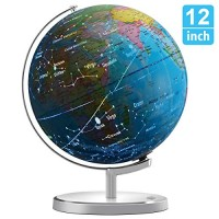 Illuminated Spinning World Globe for Kids KingSo 12 Diameter 3 in 1 dispiay Nightlight Earth with Heavy Duty Stand Kids LED Night Light Lamp Political Map and Constellation