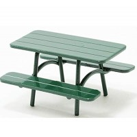 Dollhouse Miniature 1:12 Scale 4 Pc Walnut Picnic Table with 2 Benches #T6302