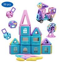 YowoSmart Magnetic Building Blocks Set for Kids Magnet Tiles Toys 99 PCS STEM Educational 3D Stacking Gifts Girls Boys Children Smaller to Suit