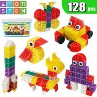128pcs Building Blocks Creativity Bricks Set with Storage Box STEM Educational Toys for 3 4 5 6 7 8 9 10 Year Olds Kids Boys Girls Preschool Toddlers