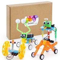 Sntieecr 4 Set Robotic Science Kits Electric DC Motor Assembly Kit for Kids DIY STEM Experiments WormRobot BalanceCar Robot Reptile and DoodleRobot