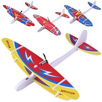 HUIFEIDEYU Airplane Gliders Toys DIY Biplane Glider Foam Powered Flying Plane Rechargeable Electric Aircraft Model Science Educational for Children at Random Color