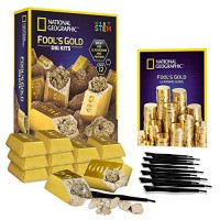 NATIONAL GEOGRAPHIC FoolS Dig Kit 12 Gold bar Bricks with 2-3 Pyrite Specimens Inside Party Activity Excavation Tool Sets Great Stem Toy for Boys & Girls Or Favors