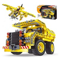 2in1 STEM Engineering Building Kits Construction Dump Truck & Airplane Blocks Build Set for Boys Girls Aged 6 7 8+