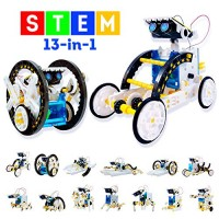 13-in-1 Stem Toys Educational Solar Robot Kit - 195PCS DIY Building Science Kits for Kids Boys Girls Teens Age 8-12 & Older Learning Engineering Robotics with Motorized Engine Gears