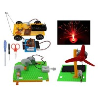 Science Kits Educational Stem Engineering Products4 Set Assembly DIY for Kids or Teens Model CarSolar Panel FanHand Crank GeneratorFiber Optic Lamp