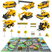 Construction Vehicles Truck Toys Set with Play Mat - 8 Mini Engineer Diecast Pull